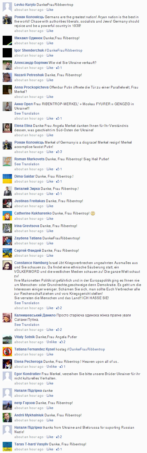 Typical comments in Angela Merkel Facebook page.