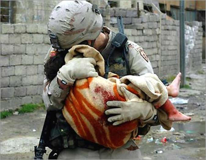 War is not just two enemy armies fighting in the middle of nowhere. War is crippled children, raped women and slaughtered civilians. That is the essence of war (photo from Iraq).
